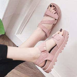 Hot Sale-femmes Plate-forme Crochet boucle ouverte le gros orteil confortables talons antidérapage sandales plates Lady Peep Toe Chunky Sole été