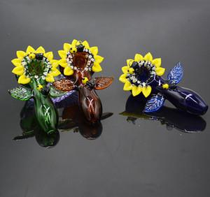 """4 """"pipes en verre fumeurs accessoires bong fleur en verre capiteux pipes à fumer pipes à main colorées bubbler dab rig expédition expédition cadeau de Noël"""