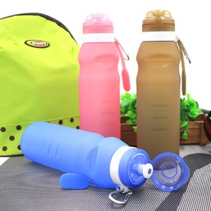 Food Grade Foldable Bottle 600 ML Silicone Bicycle Water Bottle Shaker Silicone Sport Drink Travel Running Bottles LZ1870