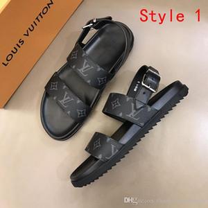 Novos homens Luxo verão das sandálias da moda sapatos de couro reais dos homens sapatos imprimir leathe clássicos sapatos apartamentos sandálias flip flops de melhor qualidade