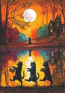 Pintura a óleo sobre tela Ryta bruxa preta CAT OUTONO Dia das Bruxas assombrou ART Wall Art Canvas Home Decor grandes pictues para sala de estar