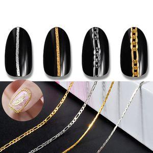 50cm Nail Art Kette Striping Schmuck Dekoration Charm Metall Gold-Silber-Höhle 3D Tipps DIY Design Line Zubehör Maniküre-Werkzeug