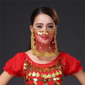 Belly Dance cara Veil Com Moedas Costume Acessório Dancing Princess Veils Party Decor Desempenho