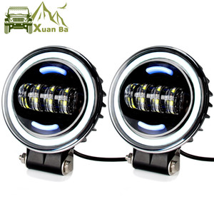 XuanBa 7 Inch 40W Angel Eye Led Driving Light 12V 24V for Jeep Headlight Motorcycle Truck UAZ SUV 4WD ATV Off road Daytime Running Lamp 2PCS