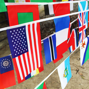 50 Countries Flags 21*14cm International Flags Bunting Banner for Party Decorations,Olympics,Grand Opening,Bar,Sports Clubs,School Events