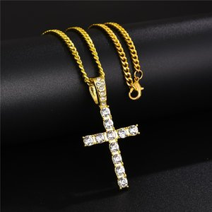 Classic Hip Hop Jewelry Iced Out Gold Silver Color Cuban Chains Rhinestone Cross Pendants Necklace for Men Free Shipping