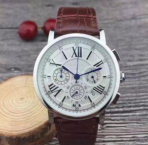 Топ Все циферблаты рабочие Секундомер Мужчины Смотреть Роскошные часы с календарем кожаный ремешок Top Brand Кварцевые наручные часы для мужчин высокого качества