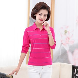 Middle Aged Women Cross Striped Cotton Shirts Pink Navy Blue Gray Purple Turn Down Collar Long Sleeve Top Woman Casual Shirt New