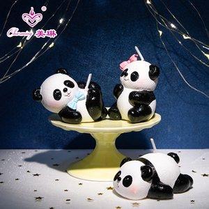 Karikatür küçük panda mum doğum günü pastası dekorasyon süsler hayvan parti mum doğum günü hediyesi yaratıcı hediye