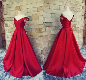 New Simple rouge foncé robes de bal v cou de l'épaule en satin froncé sur mesure dos nu Corset robes de soirée robes formelles Real Image