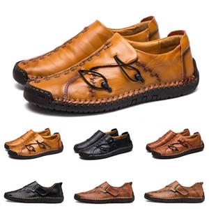 Yeni Hand'in dikiş erkekler rahat ayakkabılar ayarlamak ayak İngiltere bezelye ayakkabı deri erkek ayakkabıları düşük büyük boy 38-48 ondört