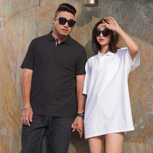 2020 Verão New Fat Sólidos shirt Homens Mulheres Moda Collar Turndown curta de algodão camisas roupas de marca Plus Size Fat 8xl