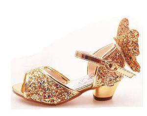 Girls Sandals Rhinestone Butterfly pink Latin dance shoes 5-13 years old 6 children 7 summer high Heel Princess shoes kids