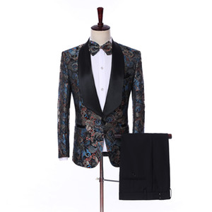2019 Tailored Made Embroidery Slim Fit Wedding Suits For Men Fashion Groom Prom Tuxedos Terno Masculino Men Suits With Pants