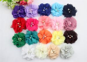 31colors şifon Çiçek ile Pearl Rhinestone Merkezi Yapay Çiçek Kumaş Çiçek Çocuk Saç Aksesuarları Bebek Headbands Çiçek BD00