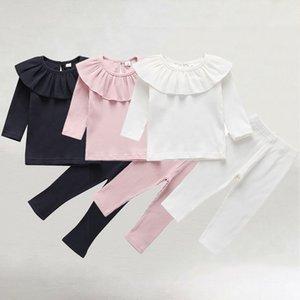 Bambina bambino autunno dal O collo solido di colore lavorato a maglia Ruffle maglietta tops Leggings Pants Clothes