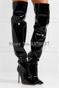 High Quality Women Charming Patent Leather Over Knee High Heel Boots Pointed Toe Black Slip-on Long Boots Dress Shoes