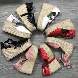 matelassé alpargata señoras del alto talón de las mujeres del diseñador 12cm plataforma de la cuña sandalias Alpargata zapatos de cuero real del tobillo con cordones con la caja