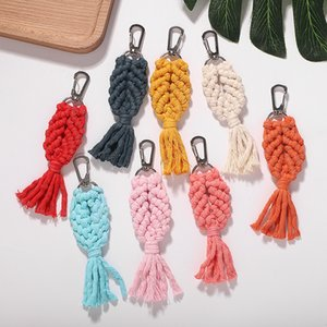 Hand Woven Macrame Fringed Keychain Vintage Design Multicolor Bag Pendant for Women High Quality Trendy Ethnic Accessories Drop Shipping