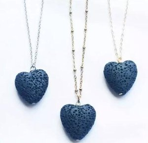 DHL Heart Lava Rock Bead Long Volcano Pendant Necklace Fashion Stone Jewelry for Women Girl Valentine's Day Christmas Gift