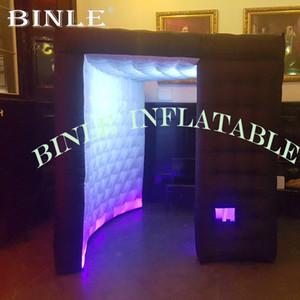 Wunderbares schwarz Aufblasbare Photo Booth Inflatable Kabine Zelt mit LED-Leuchten für Partei Hochzeit retals