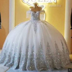 2020 prata sparkly ball vestido vestido de noiva fora do ombro laço tule applique noivas vestido longo robe de mariage