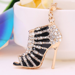 Shoes Keychain Rhinestone Crystal Keyring Charm Pendent Jewelry Gifts For Women Cute Lovely High Heeled Key Chain