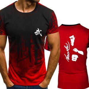 Kung Fu Ação Estrela Bruce Lee Gradiente cor T Shirt Homens de compressão Rápida Respirável Mens O-pescoço de Manga Curta t-shirt de Fitness Ginásios Tee tops