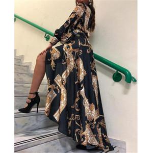 2019 mujeres elegantes de la manera del vestido maxi vestido bodycon irregular ocasional del dobladillo de la vendimia Mujer barroca larga impresa otoño