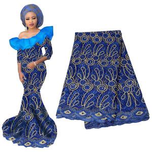 Alta qualidade laranja africano frisado tecido de renda 2019 francês voile lace para vestidos de festa de casamento bordado nigeriano tecido de renda bf0023