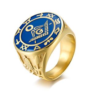 Punk dos homens de Ouro por atacado de aço Inoxidável Maçonaria maçônica signet anéis de bússola e símbolo quadrado Fraternidade item presente da jóia