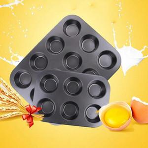 2019 Tools New NewHeavy Dever de carbono Cupcake Aço Baking Tray 12 Taça Cupcake deu forma ao bolo panela antiaderente Baking Tray bolo