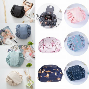 Womens Drawstring Makeup Bag Toiletry Organizer Portable Folding Travel Cosmetic Bags Storage Pouch Lazy Twill Cases Large Capacity