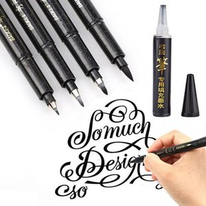 1pc caligrafia Beleza Pen pode adicionar tinta suave Pen Copiar Lettering Canetas Marcadores para escrever Drawingblack Ink Pens Art Marcador