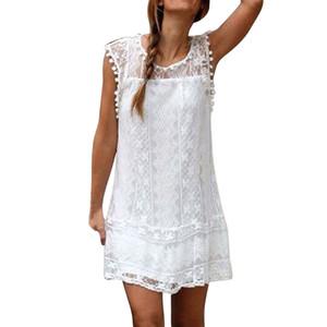 Mulheres vestido verão moda mulheres vestidos casuais lace sem mangas praia vestido curto borla mini vestido senhora