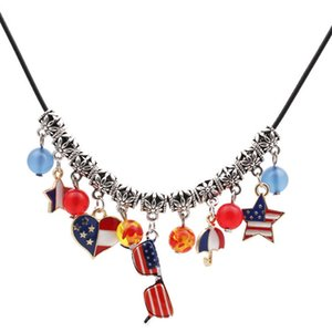 Hip Hop Bling Chains Jewelry Women Men Trends American Flag Necklace Clavicle Chain Heart Star Anchor Diy Pendant Necklaces Iced Out Chains