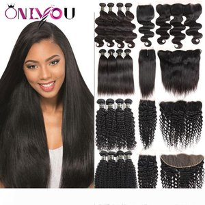 Indian Virgin Hair Straight 4 Bundles with Closures Wholesale Price Body Wave Human Hair Bundles with Frontal Deals Deep Wave Bulk Orders