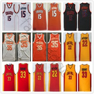 NCAA Syracuse Orange Carmelo #15 Anthony Oak Hill High School 22 Anthony 33 Durant Texas Longhorns Kevin 35 Durant College Basketball Jersey