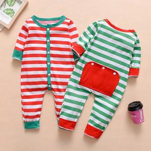 Nouveau-né De Noël Bébé Combinaisons Tout-petit Escalade costume Bébé manches longues botton rayé Barboteuses Enfants Designer Vêtements M182