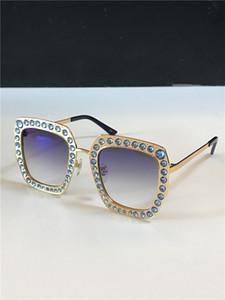 marco cuadrado nuevas mujeres del diseñador de moda las gafas de sol de la lente de cristal del mosaico colorido brillante diamante de calidad superior 0115 UV400 de metal con la caja original
