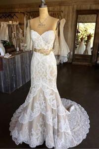2020 Ribbon Vestidos laço branco Champagne Satin Mermaid casamento com flores Querida Applique nupcial do casamento do país vestidos baratos Nova