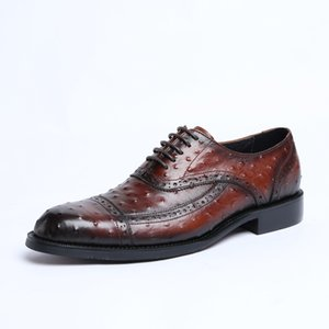 Men's Leather Shoes Lace-up Business Formal Wear Leather Shoes Men's Pointed Toe -Style Cowhide Leather Oxfords