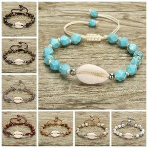 Brazaletes de Concha naturales para el encanto de las mujeres de piedra pulsera femenina tejida a mano la cuerda Cadena Diseño partido de la joyería de moda RRA2630 favor