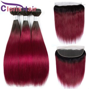 Highlight Burgundy Raw Virgin Indian Ombre Weaves Closure Straight Human Hair 3 Bundles With Top Lace Frontal 13x4 Pre Plucked Hairline