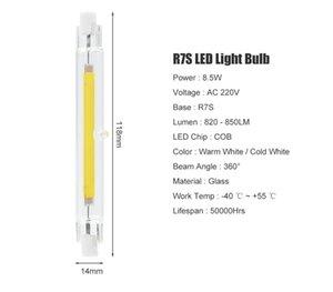 유리 튜브 COB R7S LED 118mm 10W 스포트라이트 30W 할로겐 램프 AC220V 강력한 Lampada R7S LED 전구 플러드 라이트 100PCS를 교체 ++