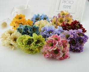 6pcs cherry blossom Fake flower silk cheap Artificial Flowers For Home wedding car decoration handicraftDIY gift Box head wreath