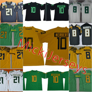 Mens 2018 Patos New NCAA Oregon Justin Herbert jérsei de futebol da faculdade costuradas 21 Patos Royce Freeman 8 Marcus Mariota Oregon Jersey S-3XL