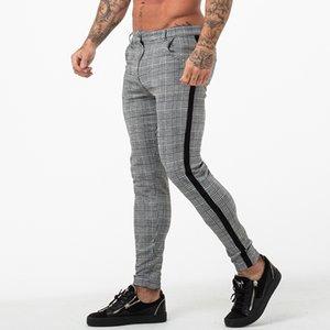 Erkekler Yan Çizgili Sıkı En Atletik Body Building takılması için Mens Jogger Pantolon Gri Ekose Chinos Skinny pantolonlar