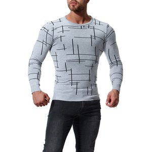 Casual Mens Digital Printed Sweater Spring Crew Neck Long Sleeve Clothing Loose Sweaters Simple Style