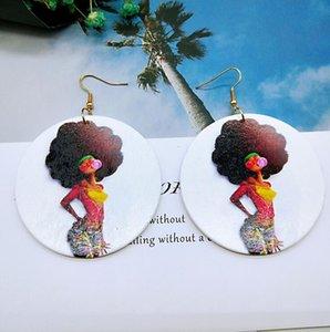 Femmes en bois Afro Boucles d'oreilles tête d'impression africaine colorée Eardrop bois Charm Ronde Boucles d'oreilles